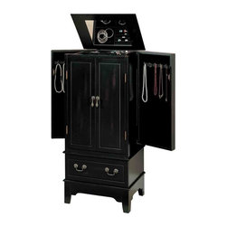 Adarn Inc - Black Tranditional Jewelry Armoire Chest Center Side Doors Drawer Organizer - Address your jewelry storage needs with the addition of this stylish black jewelery armoire. Center doors and two side doors create a classic armoire shape that is rarely seen in such a compact size. Interior hooks on the side doors prevent necklaces and chains from tangling and fold in to form a sleek, uniform front. A framed lid with mirrored insert lifts up to reveal even more storage, including compartments perfectly proportioned for rings, earrings and similarly small items. A black finish bathes the entire piece and features a lightly distressed look that adds depth to the center drawers.