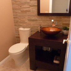 Contemporary Powder Room Powder Bath remodel