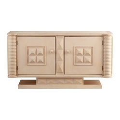Cyan - Wexler Cabinet - Feast your eyes on this bit of maple magic. Crafted of wood in a whitewash finish, it features pyramid-shaped details and knobs, turned side columns, antique brass hardware, a base that seems to float and interior storage space galore.