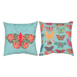 """Manual - Pair of """"Butterfly Kaleidoscope"""" 18 Inch Indoor / Outdoor Throw Pillow - This pair of 18 inch by 18 inch woven throw pillows adds a wonderful accent to your home or patio. The pillows have (No Suggestions) weatherproof exteriors, that resist both moisture and fading. The fronts of the pillows feature a print of a single butterfly with floral wings, and the backs feature over a dozen smaller, brightly colored butterflies. They have 100% polyester stuffing. These pillows are crafted with pride in the Blue Ridge Mountains of North Carolina, and add a quality accent to your home. They make great gifts for butterfly or flower lovers."""