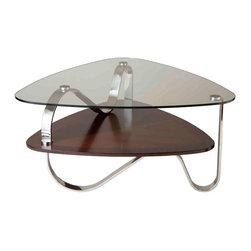 Stein World - Stein World Tribeca Cocktail Table, Rich Cocoa - Tribeca offers unique contemporary styling and well blended media. This collection is executed with stainless steel, 10 MM tempered glass, and a rich cocoa finish.