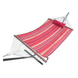"Twotree Cotton Rope Hammock with Hammock Stand, Quilted Pad and Pillow - Bring the relaxing and breezy style of the rope of a hammock anywhere you wish with the Twotree Cotton Rope Hammock with Hammock Stand, Quilted Pad and Pillow. Made for one, this 52"" Single Hammock is 100% cotton, and built for relaxing afternoons. This luxuriously soft hammock is the perfect addition to your camp, backyard or pool area."