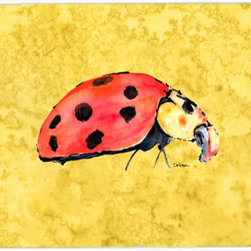 Caroline's Treasures - Lady Bug On Yellow Kitchen Or Bath Mat 24X36 - Kitchen or Bath COMFORT FLOOR MAT This mat is 24 inch by 36 inch. Comfort Mat / Carpet / Rug that is Made and Printed in the USA. A foam cushion is attached to the bottom of the mat for comfort when standing. The mat has been permenantly dyed for moderate traffic. Durable and fade resistant. The back of the mat is rubber backed to keep the mat from slipping on a smooth floor. Use pressure and water from garden hose or power washer to clean the mat. Vacuuming only with the hard wood floor setting, as to not pull up the knap of the felt. Avoid soap or cleaner that produces suds when cleaning. It will be difficult to get the suds out of the mat