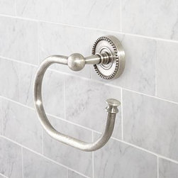 """Quinn Beaded Towel Ring, Vintage Pewter finish - These eclectic and versatile pieces have the feel of vintage finds. Cast of brass and thickly plated, our Quinn Beaded Towel Ring is made to last. Subtly distressed, antiqued and edged with beading along back plates. 8"""" wide x 3"""" deep x 6"""" high Cast of brass. Hand-applied finish. View our {{link path='pages/popups/fb-bath.html' class='popup' width='480' height='300'}}Furniture Brochure{{/link}}."""