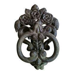 """AJcd-1316 - Cast Iron Antique Brown/Rust Door Knocker - Cast iron antique brown/rust door knocker. Measures 10"""" x 3"""". No assembly required."""