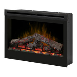 "Dimplex - Dimplex 33-Inch Plug-in Electrical Fireplace - DF3033ST - The large Dimplex 33"" Plug-In Electric Fireplace is an attractive supplemental heating solution for up to 350 square feet. Easy to operate, a digital remote control allows you to set the flame speed, heat, and lighting as you wish."