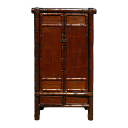 Golden Lotus - Chinese Solid Wood Carved Bamboo Simulated Cabinet Armoire - This is a Fujian ( southern China ) style cabinet made of solid elm wood, but carved into Bamboo simulated look. The surface has  a layer of bamboo pieces as accent.