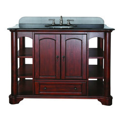 """Avanity - Avanity VERMONT-VS48-MA Vermont 49"""" Vanity Set in Mahogany with Vanity Top in Bl - Avanity VERMONT-VS48-MA Vermont 49"""" Vanity Set in Mahogany with Vanity Top in BlackThe Vermont Collection is traditional and transitional in design with a rich mahogany finish. The stately columns and arched accents can complement any bathroom. The vanity offers lots of storage and comes with an 18"""" undermount sink, a black granite vanity top and backsplash.  A coordinating beveled mirror with arched detailing (sold separately) completes the decor.Please see our Delivery Notes for Freight Shipments for products that are oversized and/or are too heavy to ship UPS ground. Avanity VERMONT-VS48-MA Vermont 49"""" Vanity Set in Mahogany with Vanity Top in Black, Features:bull; Dimensions: 49"""" w x 21.5"""" d x 35"""" h"""