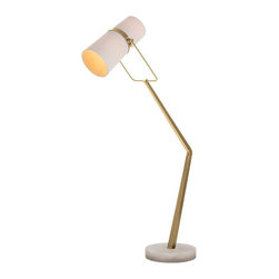 """Arteriors - Juniper Floor Lamp - This antique brass angled floor lamp is perfect next to a sectional. The off-white linen shade swivels and houses two light bulbs, and there is a foot switch on the cord. The snow marble base provides a perfect contrast to the brass finish. Marble coloration may vary. The width is adjustable from 32"""" to 35"""". The height is adjustable from 69"""" to 72"""". Takes two 60 watt bulbs."""