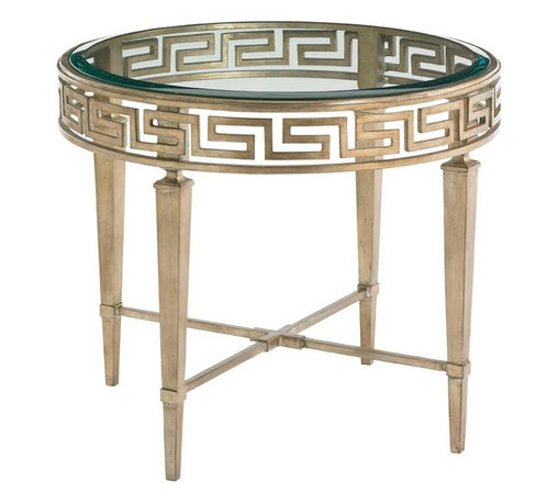 Lexington - Lexington Tower Place Aston Round Lamp Table - The Aston Round Lamp Table will surely entice you. The elegant Greek key design is featured on the gold leaf metal base, supporting a glass insert with polished edge above.