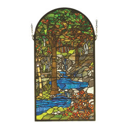 Meyda Tiffany - Meyda Tiffany Tiffany Waterbrooks Window X-55289 - The vivid blue coloring of babbling brook draws the eye in to this intricate Meyda Tiffany window. From the Waterbrooks Collection, this stunning design features a plethora of botanical elements throughout the nature scene, making it ideal for an array of decors from contemporary to traditional.
