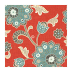 Red & Aqua Stylized Floral Fabric - Funky stylized floral with bold bursts of teal & small hints of metallic gold & gray swirling across a cherry red cotton background.Recover your chair. Upholster a wall. Create a framed piece of art. Sew your own home accent. Whatever your decorating project, Loom's gorgeous, designer fabrics by the yard are up to the challenge!
