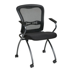 Office Star - Office Star Set of 2 Deluxe Folding Chair with Arms in Coal - Office Star - drafting chairs - 8444030 - Deluxe Folding chair with ProGrid back arms and Titanium Finish. 2-Pack. Breathable ProGrid back with Built-in lumbar support. black fabric padded seat. Sturdy Titanium finish arms and frame with dual wheel carpet casters. seat Folds for horizontal nesting.