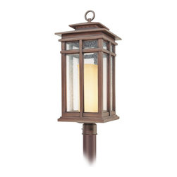 "Troy - Country - Cottage Cottage Grove Collection 29"" High Outdoor Post Light - The Cottage Grove outdoor collection from Troy Lighting offers refined appealing style that's a great match for many homes. The frame comes in a beautiful cottage bronze finish. Clear seeded glass panes combine with an amber scavo glass inner cylinder to create a beautiful glow. A warm inviting look for your exterior. Cottage bronze finish. Clear seeded/amber scavo glass. Takes one 100 watt bulb (not included). 29"" high. 11 1/2"" wide. Post not included.  Cottage bronze finish.   Clear seeded/amber scavo glass.   From the Troy Lighting collection.  Takes one 100 watt bulb (not included).   29"" high.   11 1/2"" wide.   Post not included."