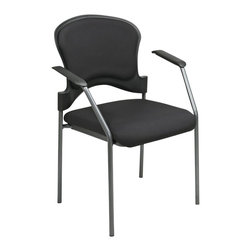 Office Star - Office Star Guest Chair with Arms in Coal - Office Star - Guest chairs - 8271030 - Titanium finish visitors chair with arms and Upholstered contour back. black fabric padded seat and arms. black FreeFlex (-30) fabric Only. Stacking chair. design to fit to almost any office setting the office star guest chair can be suitable for reception areas or waiting rooms.