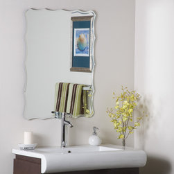 Decor Wonderland Mirrors - Decor Wonderland Frameless Ridge Mirror - One of our best sellers of all time. This stylish and super modern frameless wall mirror. Perfect mirror for your hallway, living room or bathroom. This frameless mirror has a unique shape with v-grooved polished edges. Free Shipping!