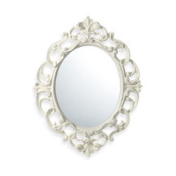 Baroque Mirror, White - Gracefully shaped and much more upscale looking than its price implies, this mirror would be a great accent on a narrow wall, in a powder room or over a slim table.