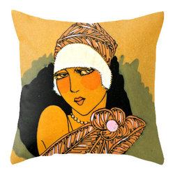 "Pictorial History Decor - Unique Art Deco style Flapper 18"" x 18: throw pillow cover and faux down insert - If you're looking for a unique throw pillow to add tons of romance to your living room or bedroom, here it is!  Let this pretty little flapper take you back in time."