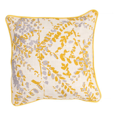 """Jaipur Rugs - Yellow/Gray color cotton encasa07 poly fill pillow 18""""X18"""" - En Casa is the design collection of Cuban born, Queens, NY raised painter and surface designer, Luli Sanchez. This collection is based off of her painterly works of art that capture an organic and moody yet optimistic spirit. Her geometric paintings were truly inspiring for this pillow collection."""