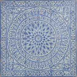 "Enchante Accessories Inc - Metal Wall Decor / Wall Hangings / Wall Accents 36 in. x 36 in., Dark Blue - Stamped metal decorative wall accent. Antique design that can be mounted together to create a large wall displayOrnate pattern with a distressed finish to give it a shabby chic look. Perfect for use in any room of the houseMeasures 36.2"" x 1.2"" x 36.2""Add texture and interest to any interior space with this decorative metal wall tile from the Home Office Collection. The Metal Wall D""cor / Wall Hangings / Wall Accents 36 in. x 36 in. is made from stamped metal and features a large square shape with an ornate pattern that adds instant personality to any room. The tile features a floral stamped border, a large round medallion accent in the center, and scrolled accents that combine geometric shapes with soft edges to give it an old world, antiqued look. The metal finish is distressed and weathered to make it look as though it has been repurposed from a vintage home or an ancient building in a distant land. Reminiscent of old fashioned tin ceiling tiles, this decorative wall hanging has a versatile look that makes it easy to add color, texture, and flair to any room. Hang one in place of a picture frame on an accent wall or in a small space that needs a decorative element. Hang two or more together to create an even more interesting display and cover more surface area. For a truly spectacular look, hang multiple tiles side by side to cover an entire wall with texture, color, and beauty. With a mesmerizing pattern and a blend of purposefully faded, vintage inspired colors, one or more of these wall tiles will surely become a conversation piece and a source of unexpected beauty in your home. Choose from a range of antiqued color combinations including dark blue, grey, and light blue. All of the colors have been gently distressed to allow a neutral color to come through the weathered finish. Easy to hang and install, these metal wall accents add a one-of-a-kind touch of vintage style to any home."