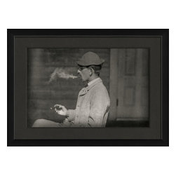 The Artwork Factory - Man Smoking Framed Photograph - Made in the USA.