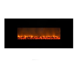 Yosemite Home Decor - Wall Mounted Electric Fireplace - Yosemite Home Decor brings you the DF-EFP148 - Carbon Flame 58 that is a contemporary piece that comes in a sleek black finish. The fireplace makes use of faux charcoal to create the illusion of real flames. Yosemite Home Decor's Carbon Flame 58 is a wall mounted unit and installation is as easy as hanging artwork. Features: -Wall mounted. -Black finish. -Full metal construction with a beautiful glass front. -No fuel combustion. -Zero carbon monoxide emissions. -Easy to reach manual controls. -Heats up to 220 sq. ft. room with ease. -Selectable high (1500W) and low (750W) settings let you adjust the fireplace's heat output. -120 Volt - 1500 watt / 5000 BTU electric fireplace. -ETL CETL TUV certified.