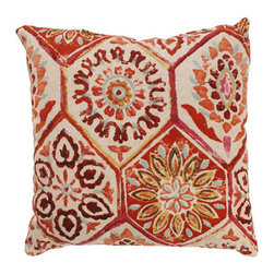 Pillow Perfect - Summer Breeze 16.5-Inch Throw Pillow in Crimson - - 100% Cotton  - 100% Virgin Recycled Polyester Fill  - Sewn Seam Closure  - Spot Clean Only  - Made In USA Pillow Perfect - 472881