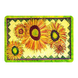 Caroline's Treasures - Flower - Sunflower Kitchen Or Bath Mat 24X36 - Kitchen or Bath COMFORT FLOOR MAT This mat is 24 inch by 36 inch.  Comfort Mat / Carpet / Rug that is Made and Printed in the USA. A foam cushion is attached to the bottom of the mat for comfort when standing. The mat has been permenantly dyed for moderate traffic. Durable and fade resistant. The back of the mat is rubber backed to keep the mat from slipping on a smooth floor. Use pressure and water from garden hose or power washer to clean the mat.  Vacuuming only with the hard wood floor setting, as to not pull up the knap of the felt.   Avoid soap or cleaner that produces suds when cleaning.  It will be difficult to get the suds out of the mat.