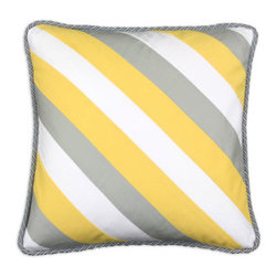 Crisscross Striped Pillow - Stripes away! With its cheery accents reminiscent of the beach, this pillow is perfect for adding a summery look to any space. Made in the midwest.