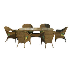 Forever Patio - Rockport 7 Piece Round Wicker Patio Dining Set, Canvas Parrot Cushions - Turn your patio into a sophisticated dining area with the classic design of the 7 Piece Rockport Dining Set (SKU FP-ROC-7DN-CN-CP). The set seats 6 adults and includes 6 lounge chairs and a dining table with a glass top. The round Chestnut wicker strands in this set give it a warm, traditional look designed to last. Every strand of this wicker is made from High-Density Polyethylene (HDPE) and is infused with its rich color and UV-inhibitors that prevent cracking, chipping and fading ordinarily caused by sunlight. The set is supported by thick-gauged, powder-coated aluminum frames that make it extremely durable and resistant to corrosion. Also included are cushions covered in fade- and mildew-resistant Sunbrella fabric.