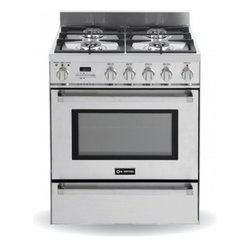 """Verona - VEFSGE304PSS 30"""" Freestanding Dual Fuel Range with 4 Sealed Burners  3.0 cu. ft. - 30 Pro-Style Dual-Fuel Range with 4 Sealed Burners 30 cu ft Self-Cleaning European Convection Oven Touch Control Digital ClockTimer and Thermostatically Controlled Warming Drawer"""