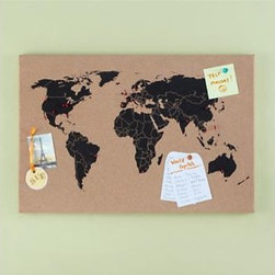 Kids World Map Corkboard - Here is another great office idea: a cork board with a map silhouette. I would use this to pin places in the world where we have been.