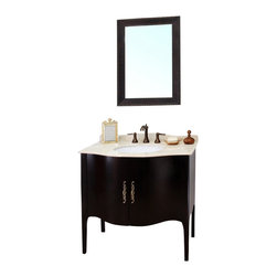 Bellaterra Home - 36.6 Inch Single Sink Vanity-Wood-Espresso - Constructed of solid wood, this traditional bathroom vanity is an exquisite design. Curved cabinet front and door panels with rich espresso finish brings luxurious look. Antique brass finish hardware adds classic look to any bathroom. Vanity dimension: 36.6 W x 22 D x 36 H