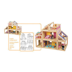 Maxim - Designed by You Doll House - Features: -Doll house. -Material: Sturdy hardwood. -Paint is non-toxic and kid safe. -6 Rooms are modular and can moved. -Configured into multiple configurations so child can have a new dollhouse each time they play with it. -Large spacious, open play area for easy access to all 3 levels of the doll house. -Includes furniture for all the rooms and two figures. -Adult assembly required.