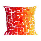 """Trans-Ocean Inc - Ombre Tile Warm 20"""" Square Indoor Outdoor Pillow - The highly detailed painterly effect is achieved by Liora Mannes patented Lamontage process which combines hand crafted art with cutting edge technology. These pillows are made with 100% polyester microfiber for an extra soft hand, and a 100% Polyester Insert. Liora Manne's pillows are suitable for Indoors or Outdoors, are antimicrobial, have a removable cover with a zipper closure for easy-care, and are handwashable.; Material: 100% Polyester; Primary Color: Red;  Secondary Colors: orange, pink, white, yellow; Pattern: Ombre Tile; Dimensions: 20 inches length x 20 inches width; Construction: Hand Made; Care Instructions: Hand wash with mild detergent. Air dry flat. Do not use a hard bristle brush."""