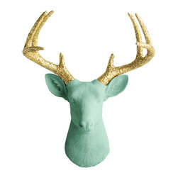 Wall Charmers - Wall Charmers Deer in Mint + Glitter Gold Antler | Faux Fake Taxidermy Head Stag - WALL CHARMERS FAUX TAXIDERMY DEER HEAD