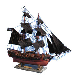 "Handcrafted Nautical Decor - Caribbean Pirate Ship Limited 26"" - Black Sails - Sold Fully Assembled Ready for Immediate Display -Not a Model Ship Kit"