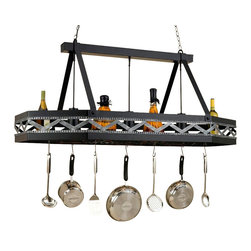 Hi-Lite MFG - Sonoma 3-Lite Pot Rack in Black Leather Finish w Accent Silver - Includes eight pot rack hooks. Accessories not included. UL listed. Made from steel. 55 in. L x 25 in. W x 25 in. HHi-Lite achieved success through attention to detail and stubbornness to only manufacturer the highest quality product. Hi-Lite has built its reputation as a premier lighting manufacturer by using only the finest raw materials, inspirational designs, and unparalleled service. This allows us great flexibility with our designs as well as offering you the unique ability to have your custom designs brought to Light.