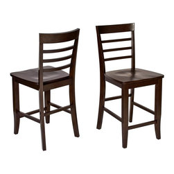 Office Star - Jamestown 2 Pc. Counter Stools Set w Contoure - Classic ladder style backs add visual interest to this two-piece stool set, constructed of wood solids and veneers in a rich espresso finish. Designed to pair with a coordinating pub table, available separately, the set is highlighted by contoured seats and rung style foot rests for added comfort. Attractive design compliments most any decor. Beautiful espresso finish on select veneers and solids. Curved ladder back and contour seat for additional comfort. Overall pub stool: 17 in. W x 19.25 in. L x 40.5 in. H
