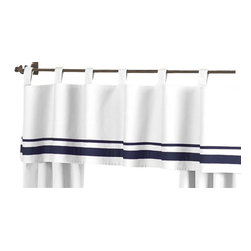 Sweet Jojo Designs - Hotel White & Navy Window Valance by Sweet Jojo Designs - The Hotel White & Navy Window Valance by Sweet Jojo Designs, along with the  bedding accessories.