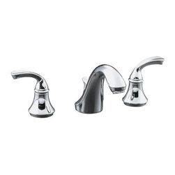 KOHLER - KOHLER K-10272-4-CP Widespread Bathroom Sink Faucet with Sculpted Lever Handles - KOHLER K-10272-4-CP Forte Widespread Bathroom Sink Faucet with Sculpted Lever Handles in Polished Chrome