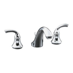 KOHLER - KOHLER K-10272-4-CP Widespread Bathroom Sink Faucet with Sculpted Lever Handles - KOHLER K-10272-4-CP Forte Widespread Bathroom Sink Faucet with Sculpted Lever Handles in Polished Chrome