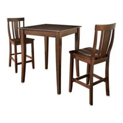 Crosley - Crosley Pub Dining Set with Cabriole Legs and Shield Back Stools (3-Piece Set) - Classic styling with a modern height makes this pub set an ideal addition to virtually any decor. Whether you need seating in the kitchen or even in a family room, this sturdy set is built to last.