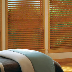 "Parkland™ Reflections® Wood Blinds- Hunter Douglas - Get the look of shutter louvers with the efficiency of a blind. The wide, 2.5"" beveled slats of Parkland™ Reflections® wood blinds lend distinct style, finished with beautiful stains or paint colors."