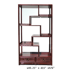 "Oriental Rosewood Display Curio Cabinet Divider - This is a traditional Chinese style display , called "" eight treasure cabinet "" in Chinese term. Its variation in height and size on each shelf is good for displaying a variety of items. It is an elegant furniture piece for grand room dividing and vase statues displaying. ( matching fs454 )"