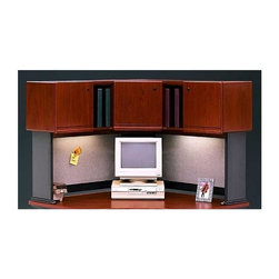 Bush Business - Corner Desk Hutch for 48 in. Office Desk - Se - Vacu-form, vinyl-clad door fronts. Includes two fabric-covered tackboards. Fully finished interior and back panel. European-style, self-closing, adjustable hinges. Convenient open and concealed storage. 47.13 in. W x 47.13 in. D x 36.00 in. H