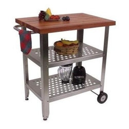 John Boos - Food Service Cart in Cherry Finish - Includes 2 legs with glides and 2 legs with rigid casters. Food service grade stainless steel shelves and legs. Stainless steel towel bar. For indoor use only. 21.5 in. L x 1.5 in. W x 31.38 in. H