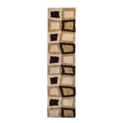 None - Contemporary Geometric Super Soft Shag Brown Runner Rug (1'8 x 4'11) - Add a warm inviting feeling to you home decor with this Contemporary Geometric Super Soft Shag Brown Runner Rug. This rug features a high pile in warm earthy tones of rust, brown and beige.