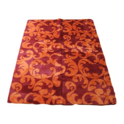 Walk on Me - Contemporary Red/Orange Flourish Rug - Extraordinary design piece - dynamic color scheme, bold flourish, gorgeously touchable pile - short, thick, intensely vibrant fibers stand upright or lay beautifully in one direction producing a lovely sheen - vibrant orange and fuschia - machine washable, hypoallergenic, non-slip