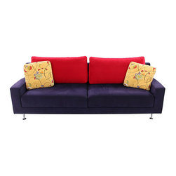 """Morgan Modern Arm Sofa - Morgan seating Art Deco ultra suede aubergine and red color in original upholstery sofa with two yellow multicolor pillows. Arm 22""""H; Seat 18""""H. Mission Avenue Studio."""